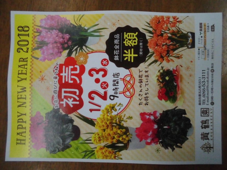 あけましておめでとうございます、2018年初売りです鉢花全商品半額とさせていただきます、飯田市