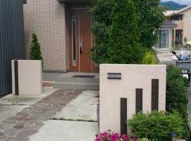 門柱、飯田市庭つくり、外構工事、ガーデン